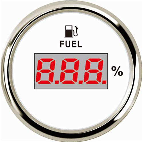 Samdo Universal 52mm Digital Fuel Level Gauge Meter 240-33ohm Signal Red Backlight 12V/24V ()