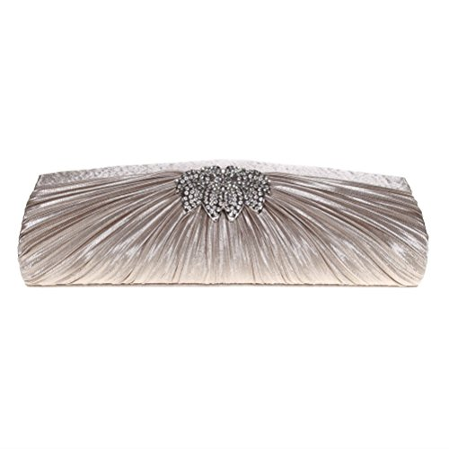 Wedding amp; Pleated Party Purses Rhinestone Clutch Floral Womens 3D For FASHIONROAD Clutch Apricot Evening TqvwFRp