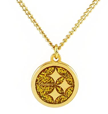 Pittsburgh Steelers Glitter Necklace NFL Team Logo Charm Pendant Gift