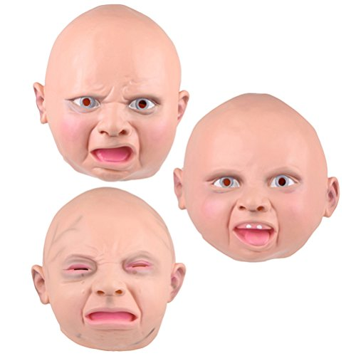 (TINKSKY 3 pcs Latex Mask Costume Accessory Child Baby Head Mask for Cosplay Halloween, Crying Smiling Angry)