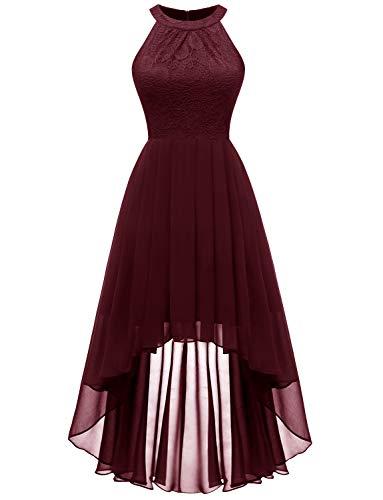Bodice Dress Halter (Dressystar 0060 Halter Floral Lace Hi-Lo Bridesmaid Dress Formal Wedding Maxi Dress L Burgundy)