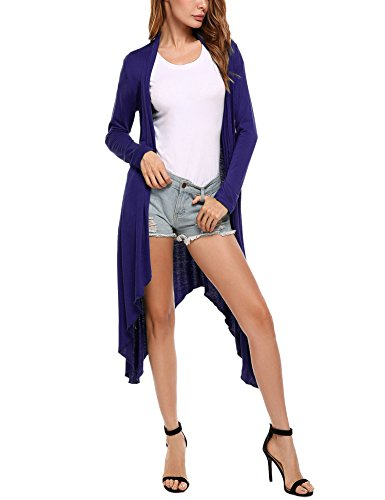 Meaneor Women's Long Sleeve Waterfall Asymmetric Drape Open Long Maxi Cardigan,  Small, - Front Drape Short