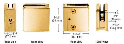 C.R. LAURENCE Z610GP CRL Gold Plated Z-Series Square Type Radius Base Zinc Clamp for 3/8
