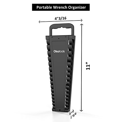 Olsa Tools Portable Wrench Organizer   15-Slot Wrench Holder for Organizing Wrenches   Black by Olsa Tools (Image #1)