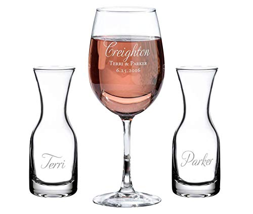 Lillian Rose Wedding Ceremony Unity Wine Carafe and Glasses (Script) -