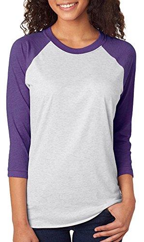 (Next Level Unisex 3/4-Sleeve Raglan T-Shirt, Purple Rush/HTHR Wht, Medium)