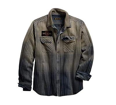 HARLEY-DAVIDSON Official Men's Schematic Plaid Slim Fit Shirt, Plaid