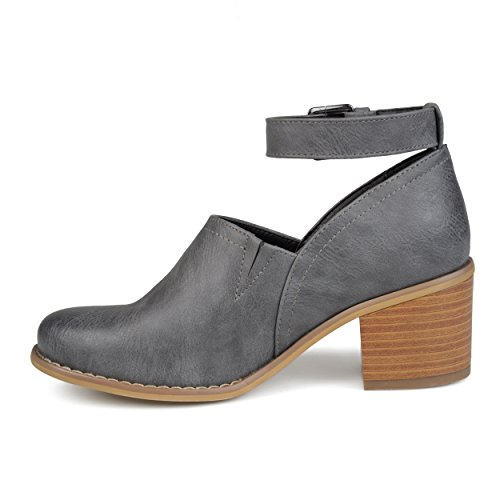 Heel Ankle Journee Clogs Womens Stacked Collection Strap Grey wvXrXqUE