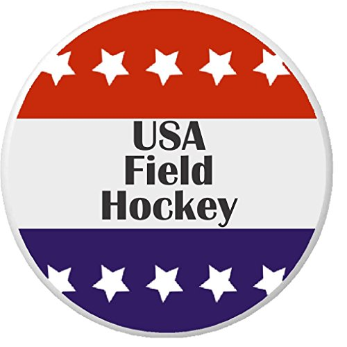 "USA Field Hockey Red White Blue Stars 2.25"" Large Pinback Button (Field Hockey Pin)"