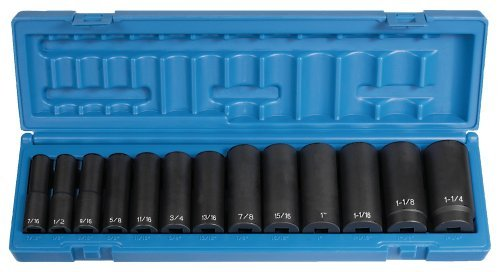 Grey Pneumatic Corp 1312D 1/2'' Drive Deep Length Fractional Set - 13 Piece by Grey Pneumatic ()