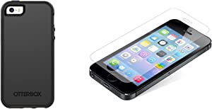 OtterBox Symmetry Series for iPhone SE (1st gen - 2016) and iPhone 5/5s - Black & Zagg Invisibleshield Glass Screen Protector for iPhone 5 / iPhone 5s / iPhone 5C / iPhone SE - Clear