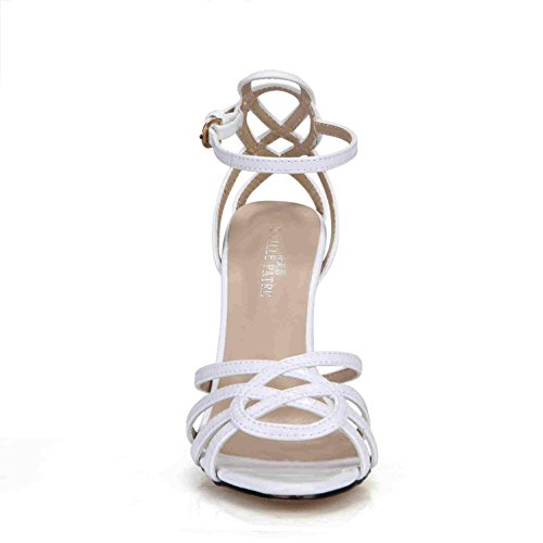 Pumps Straps 4U Patent High 7CM Comfortable White Sole toe Heels Best Rubber Sandals One Peep Women's Basic 10 Leather Buckle Summer Shoes zwfx8S