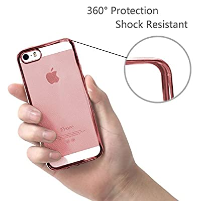 Iphone SE Case - HD Clear Screen Protector Included - Shock-Absorption Clear TPU Bumper Case Slim Fit Soft Cover Shell , for iPhone 5/5s/SE (Rose Gold)