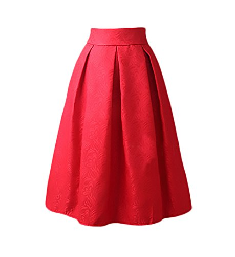 A Gonna Grazioso A Alta Rosso Vintage Jacquard Pieghe Eleganti Lunga Ruota Donna Moda Gonna Sezione Anni Gonne Medio Vita Nobile Gonna 50 dxnfAqx0w