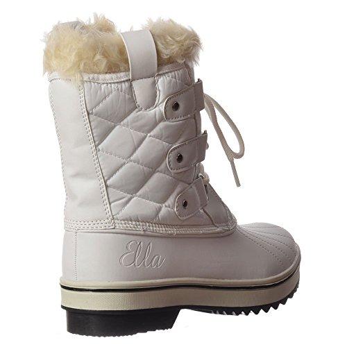 Ella Damen Fleecegefütterte Warme Fell, Flache Halbstiefel Ski Schnee Weiß