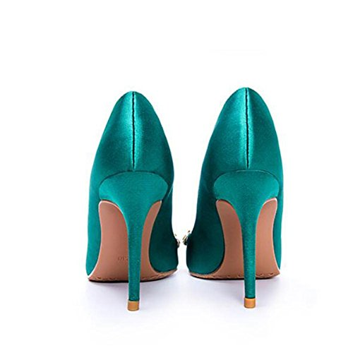 Pointed Women Blue L Sandals Dance Diamond Office High Satin With Fine Heels 8cm YC ZBzqg
