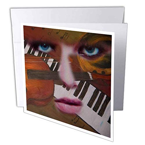 (3dRose Jos Fauxtographee- Jos Faux Mixed Face Instruments - Muscial Insturments Behind an amalgamated face - 12 Greeting Cards with envelopes (gc_307525_2) )