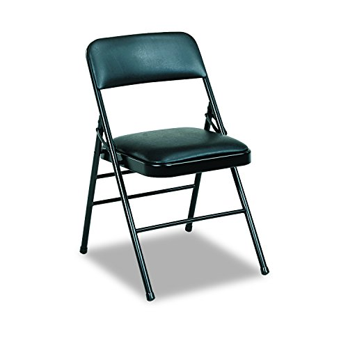 Cosco 608830054 Deluxe Vinyl Padded Seat & Back Folding Chairs, Black (Case of 4) by Cosco