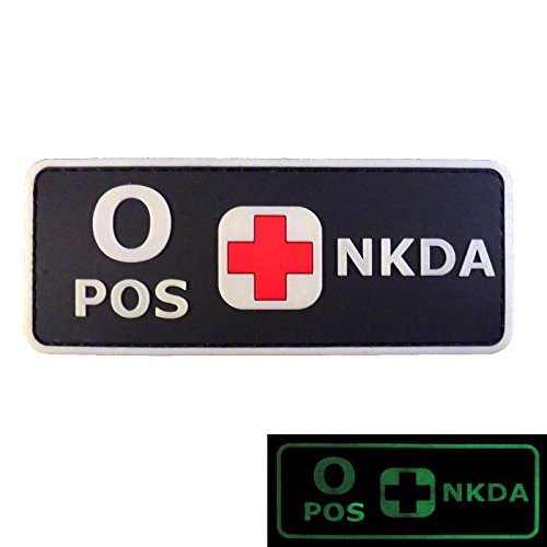 PVC Rubber 3D GITD Touch Fastener Patch Blood Type NKDA Glow in the Dark Combat Tactical GID