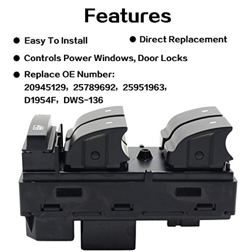 3500HD // Yukon//Buick Enclave Replace OE 25789692 20945129 25951963 2500HD Driver Side Power Master Window Switch for Chevy Silverado//Chevrolet Traverse//HHR // 2007-2013 GMC Sierra 1500