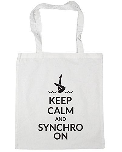 HippoWarehouse Keep calm and synchro auf Tote Einkauf Fitnessstudio Strandtasche 42cm x38cm, 10 liter - Weiß, One size