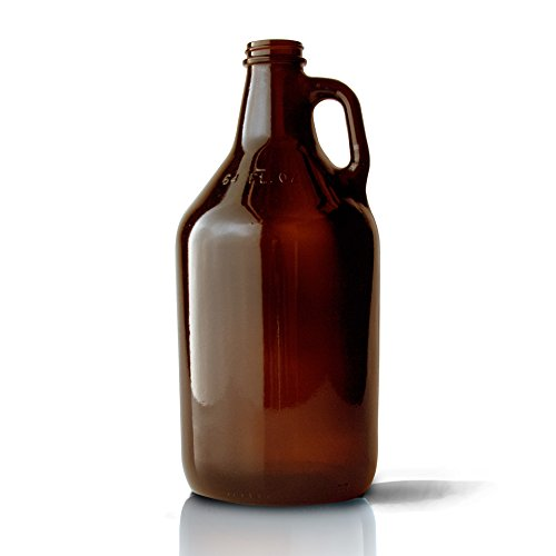 Packaging Options Direct 64 oz. Amber Glass Beer Growlers with Caps, (Pack of 6)