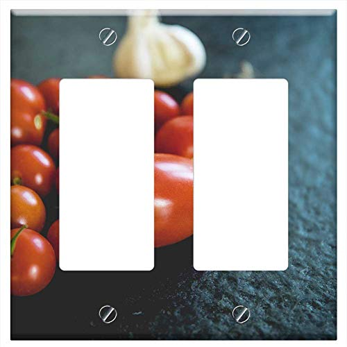 Switch Plate Double Rocker/GFCI - Tomatoes Vegetables Datailaufnahme Food Garden Red 2