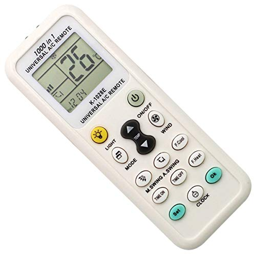 Elayce Air Conditioner Remote AC Control LCD Universal Conditioning Controller 1000 in 1 for Mitsubishi Toshiba HITACHI FUJITSU Daewoo LG Sharp Samsung ELECTROLUX SANYO (B) (White)