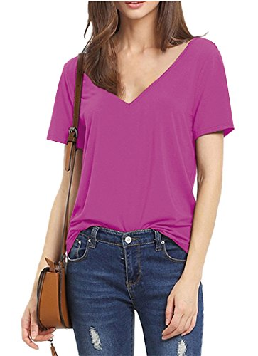 Baci T-shirt (Womens V Neck T Shirts Raspberry Small)