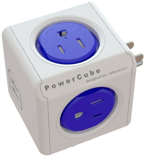 PowerCube [Newest Version] USB, Surge Protector, Electric Outlet Wall Adapter Power Strip with 4 outlets, Dual USB Port 4220BL/USOUPC By Allocacoc