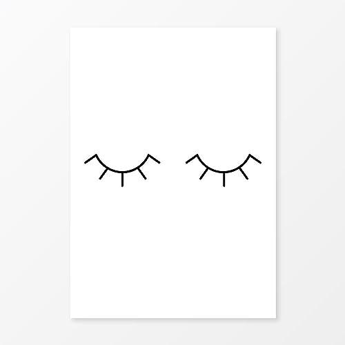 Minimalist eye lashes print size 11x14 black and white nursery wall art modern