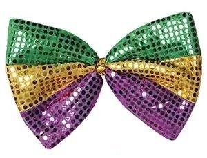 Jumbo Mardi Gras Glitz 'N Gleam Bow Tie Pkg/3