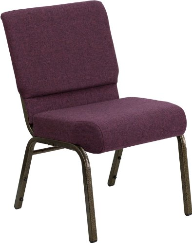 Flash Furniture HERCULES Series 21''W Stacking Church Chair in Plum Fabric - Gold Vein - Gold Plum