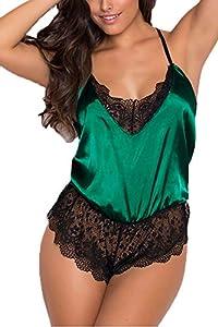 QHYLOVE Women Babydoll Sexy Lingerie Nightwear Satin Pajamas Plus Size One Piece Mini Bodysuit Mesh Chemise