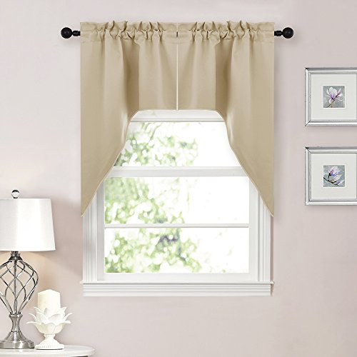 NICETOWN Room Darkening Rod Pocket Kitchen Tier Curtains- Tailored Scalloped Valance /Swags for Living Room (2 Pieces, 29' W X 38' L Each Panel, Warm Beige)