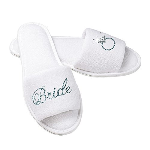 with Diamond Cloth Terry Ring Bridal Bride and Slippers Rhinestone qOSnt