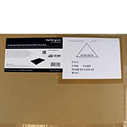 StarTech.com 1U Adjustable Mounting Depth Rack Mount Shelf - Heavy Duty Fixed Server Rack Cabinet Shelf - 175lbs / 80kg - Fixed Rack Shelf