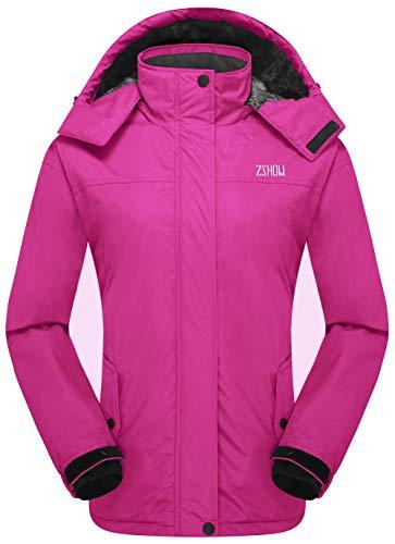 - ZSHOW Women's Hooded Warm Mountain Windproof Fleece Jacket Softshell Coat(Rose Red, X-Large)