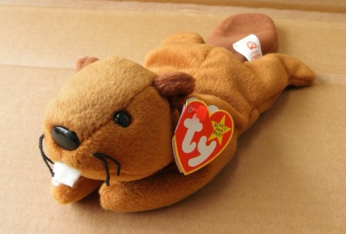 Bucky Beaver - TY Beanie Babies Bucky the Beaver Stuffed Animal Plush Toy - 11 inches long - Brown - Style 4016