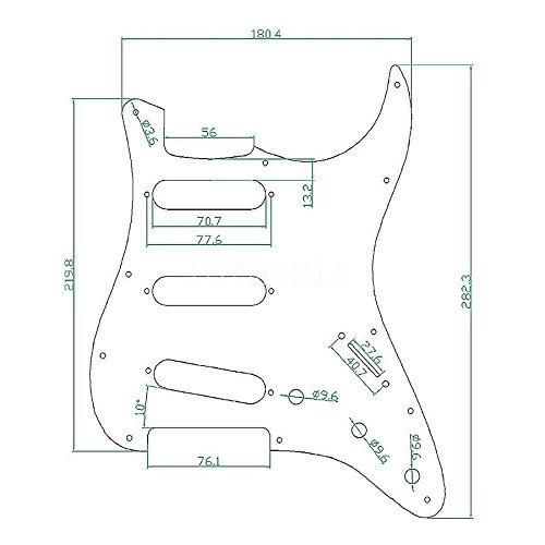Kmise Z2269 8 Piece 3-Ply Tortoise Pickguard for Fender Strat ST Guitar Parts Replacement