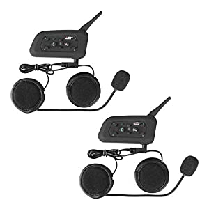 heneng Motorcycle Helmet Bluetooth Headset Intercom Full-face Sports Speaker Low Profile Wireless Headphone 6 Riders Communicator 500m Talk for Riding, Trip, Cruise, Offroad, Snow Vnetphone(2 Pack)