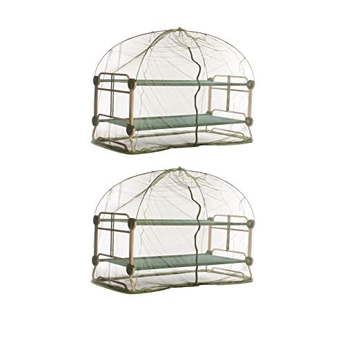 Disc-O-Bed Mosquito Net and Frame for Bunkable Camping Cots, Green (2 Pack)