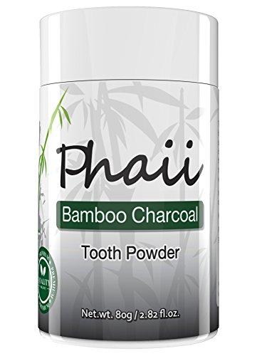 Gommes de tons naturels dents blanchissant en poudre avec du charbon de bambou - améliore l'hygiène de la bouche - & soulage de gomme douleur - combats toxines & bactéries - détoxifie, 100 % bio dentifrice