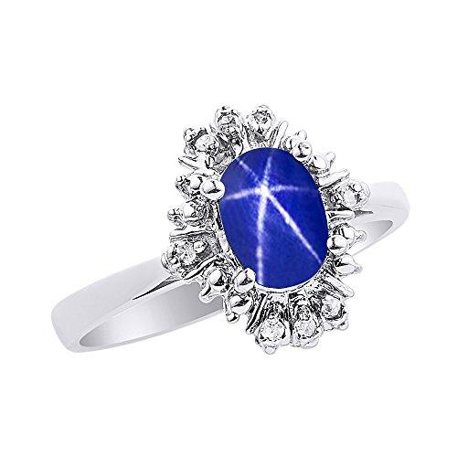 Diamond & Blue Star Sapphire Ring Set In 14K White Gold Fanned Diamonds