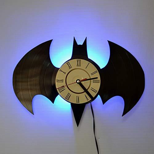 (Batman Batarang Blue LED Backlight Vinyl Wall Clock Night Atmosphere Light Lamp Creative Classic Cool Living Room Interior Decor Led Time Clock With Color)