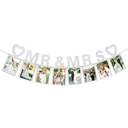 Mr and Mrs Photo Banner Wedding Anniversary Bunting Funny Bride and Groom Party Decorations Silver ()