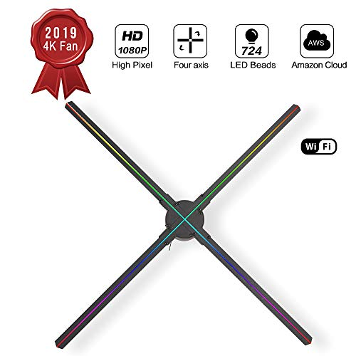 GIWOX 2019 3D Hologram Fan Display 65S with Powerful APP,Trade Show Display 1080P HD and 724Pcs Led Beads,Four-Axil and High Transfer Speed,Upload by iOS and Android 3D Holographic Fan(25.6Inch) (3d Display Holographic)