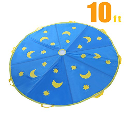Shinehalo 10 Feet  3M  Star   Moon Parachute For Kids  Parachute Tent Toys With 8 Handles For Kids Play Games  Outdoor Games Toys  Kids Cooperation Group Play  Blue
