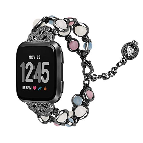 - VODKE Compatible with Fitbit Versa Band, Unique Handmade Luminous Pearl Bracelet Link Adjustable Clasp Wristband with Perfume Storage Pendant for Fitbit Versa Smart Watch Women Girl Black