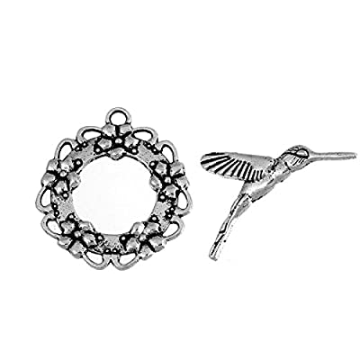 10 Sets Silver Tone Bracelet Toggle Clasps, Hummingbird and Flower - Findings, DIY Crafts, Jewelry Making